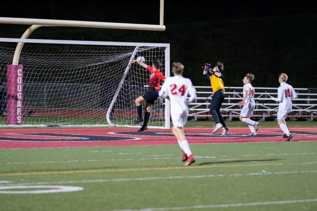 Jacob Caruso scoring a goal.