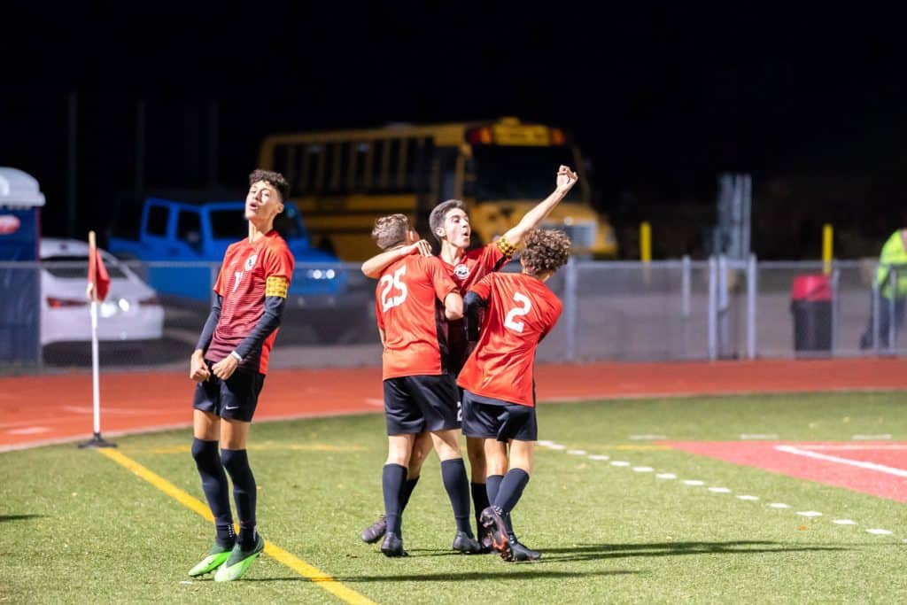 Celebration after the goal by the Cougars.
