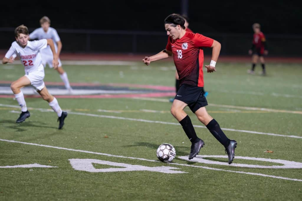 Dom Yocolano on offence for the Charleroi Cougars Boys soccer.